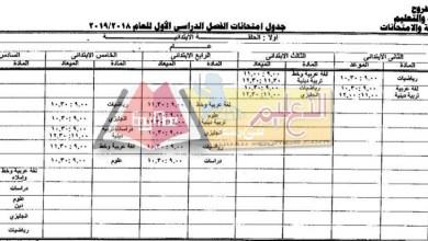 Photo of ننشر جداول امتحانات الفصل الدراسى الأول 2018 / 2019 بمطروح