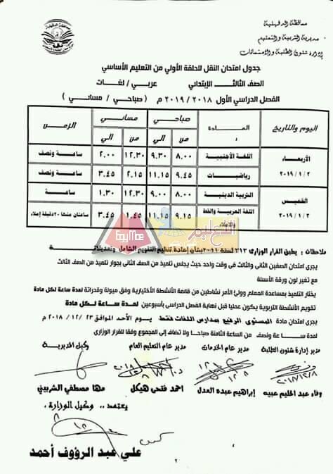ننشر جداول امتحانات الفصل الدراسي الأول 2018 2019 بمحافظة