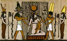 Isis suckling the Horus-Child in the papyrus swamps