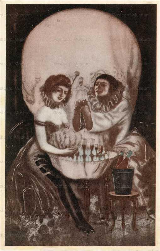 tr060-髑髏の中に女性が   絵葉書資料館