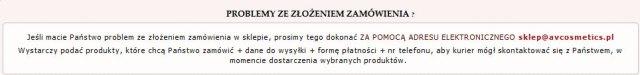 Avcosmetics.pl - komunikat
