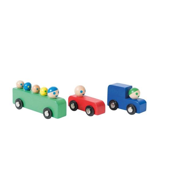 carros e autocarro de madeira
