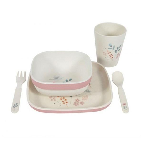 Conjunto de refeição em Bamboo - Spring Flowers, da Little Dutch