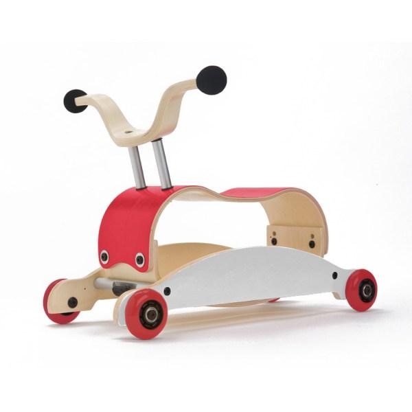 mini-flip vermelho 3-em-1 triciclo, cavalinho, andarilho