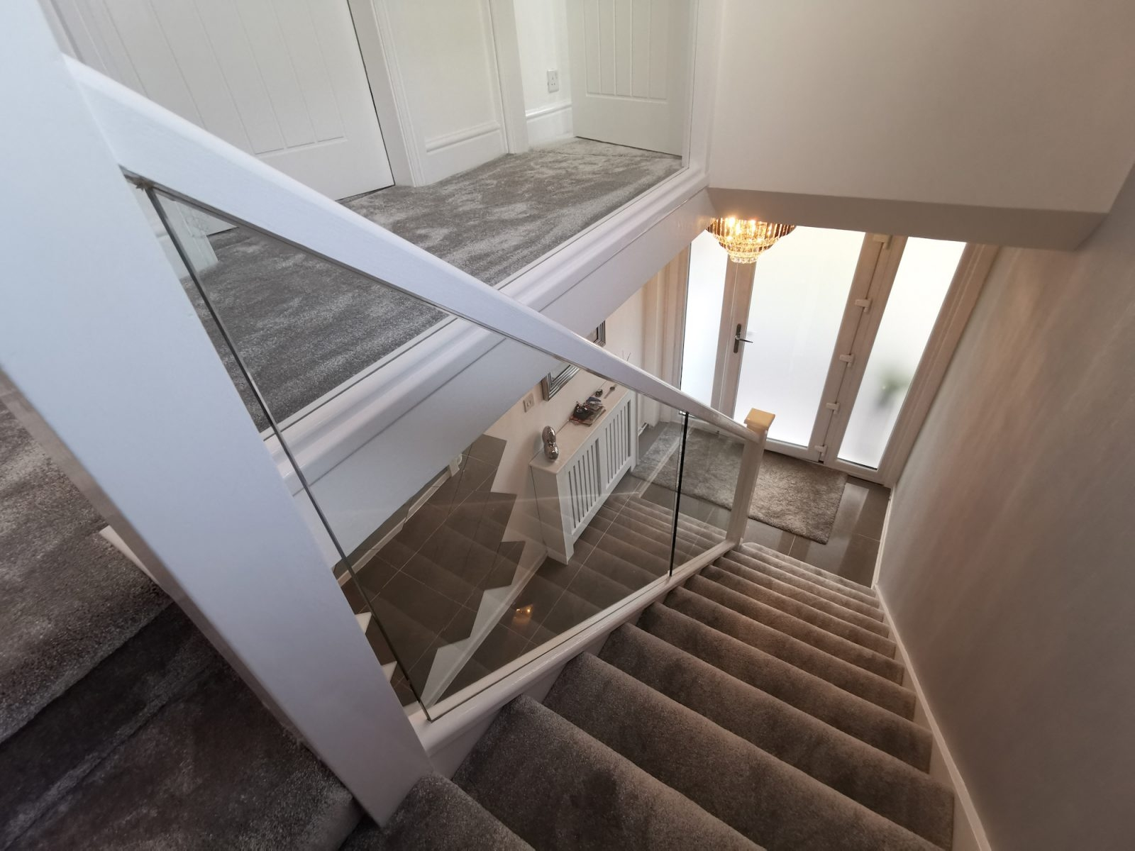 White Staircase Embedded Glass Edwards Hampson   White And Glass Staircase   Step   Before And After   Handrail   Stained   Oak