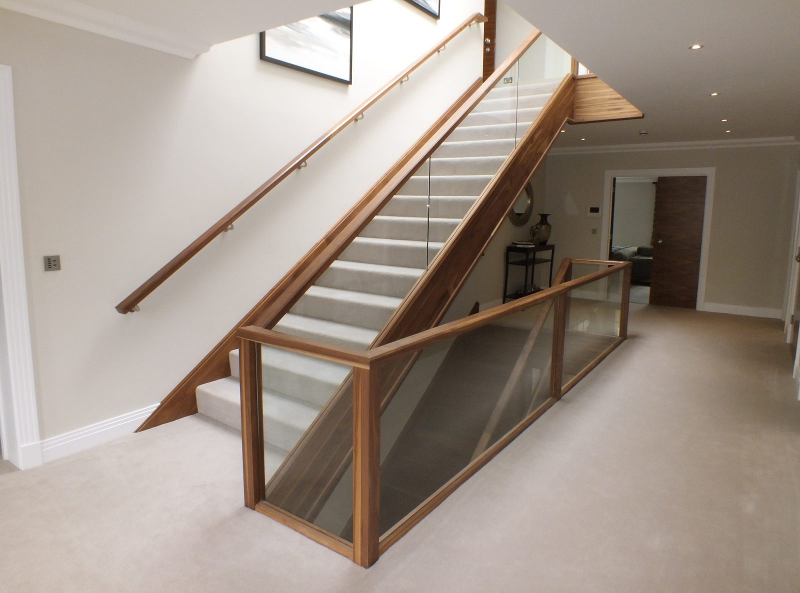 Glass Staircase Design Manufacture Edwards Hampson Ltd | Glass And Chrome Staircase | Contemporary | White Post | Single Spine | Lights | Stainless Steel