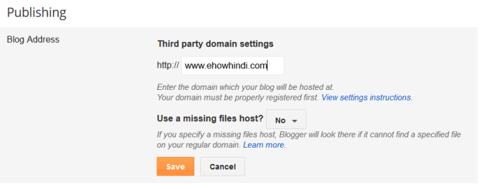 Blogger third party domain setup