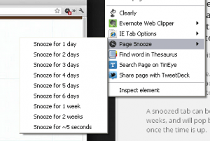 pagesnooze Google Chrome extension