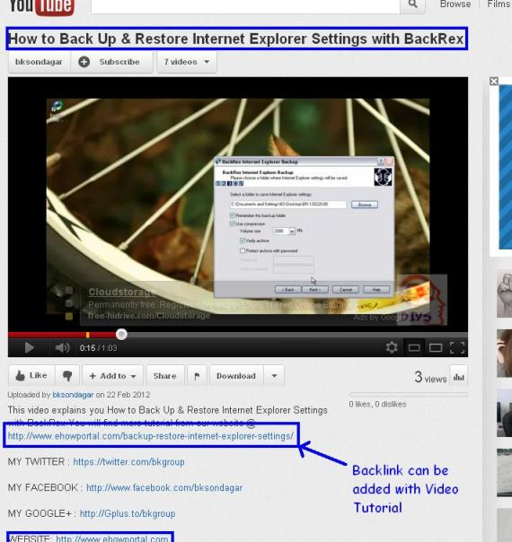 Get Backlink from YouTube - Advanced SEO for Blog