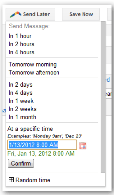 Schedule an email to send at a later date