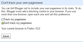 Prevent blogspot counting own pageviews