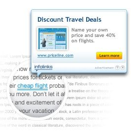 Pay Per Click Advertising - In Text Ads for Websites by Infolinks