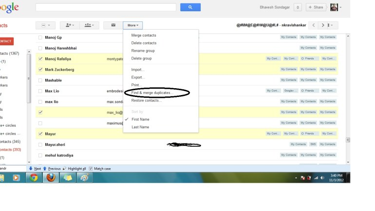 how to find contacts on google