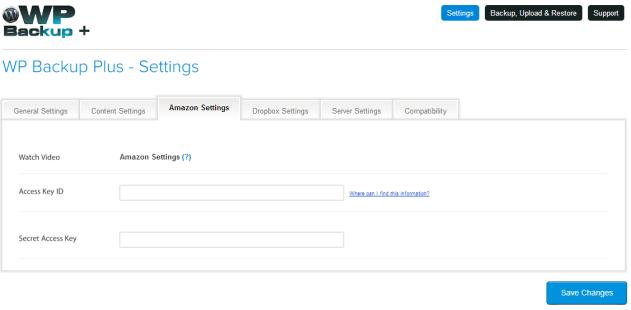 Amazon setting configuration in WP backup Plus