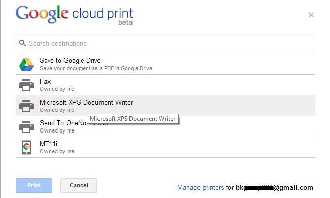 Google Cloud Print - Send File For Print from Google Chrome