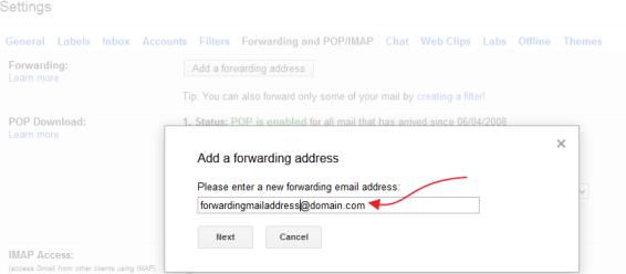 Adding Forwarding mail address on Gmail account