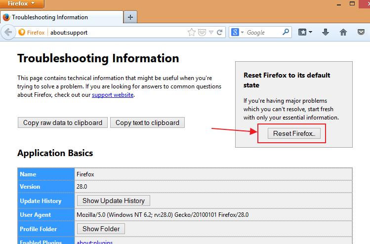 Reset Mozilla Firefox Without Uninstalling it