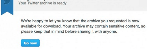 Twitter Email for Download Archive Link