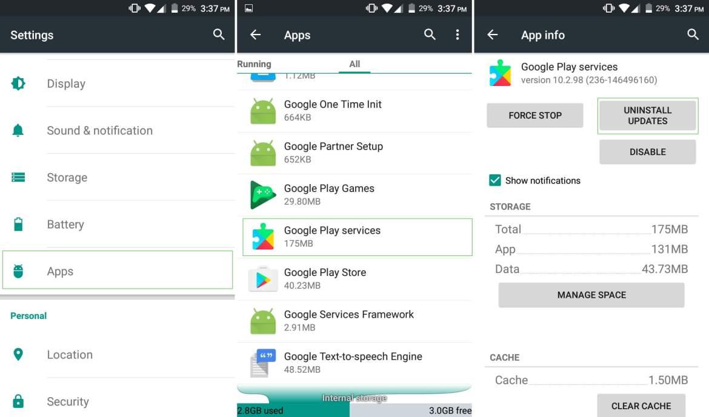 Reinstall Google Play Services