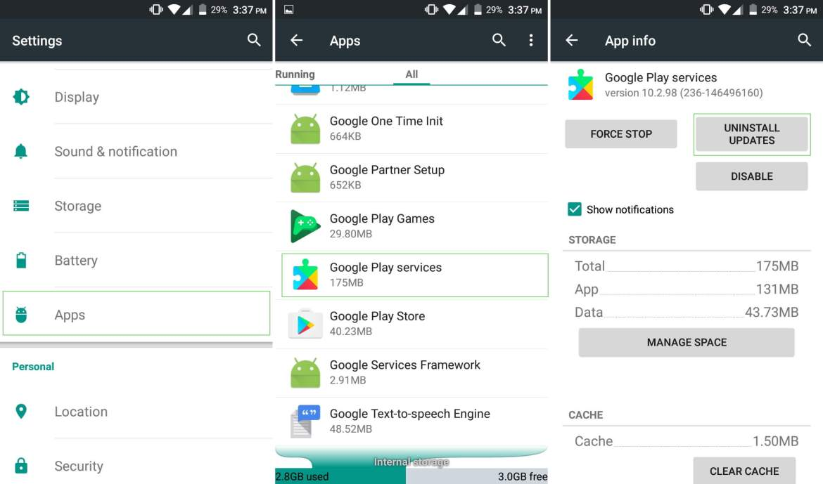 how to uninstall google play services and reinstall