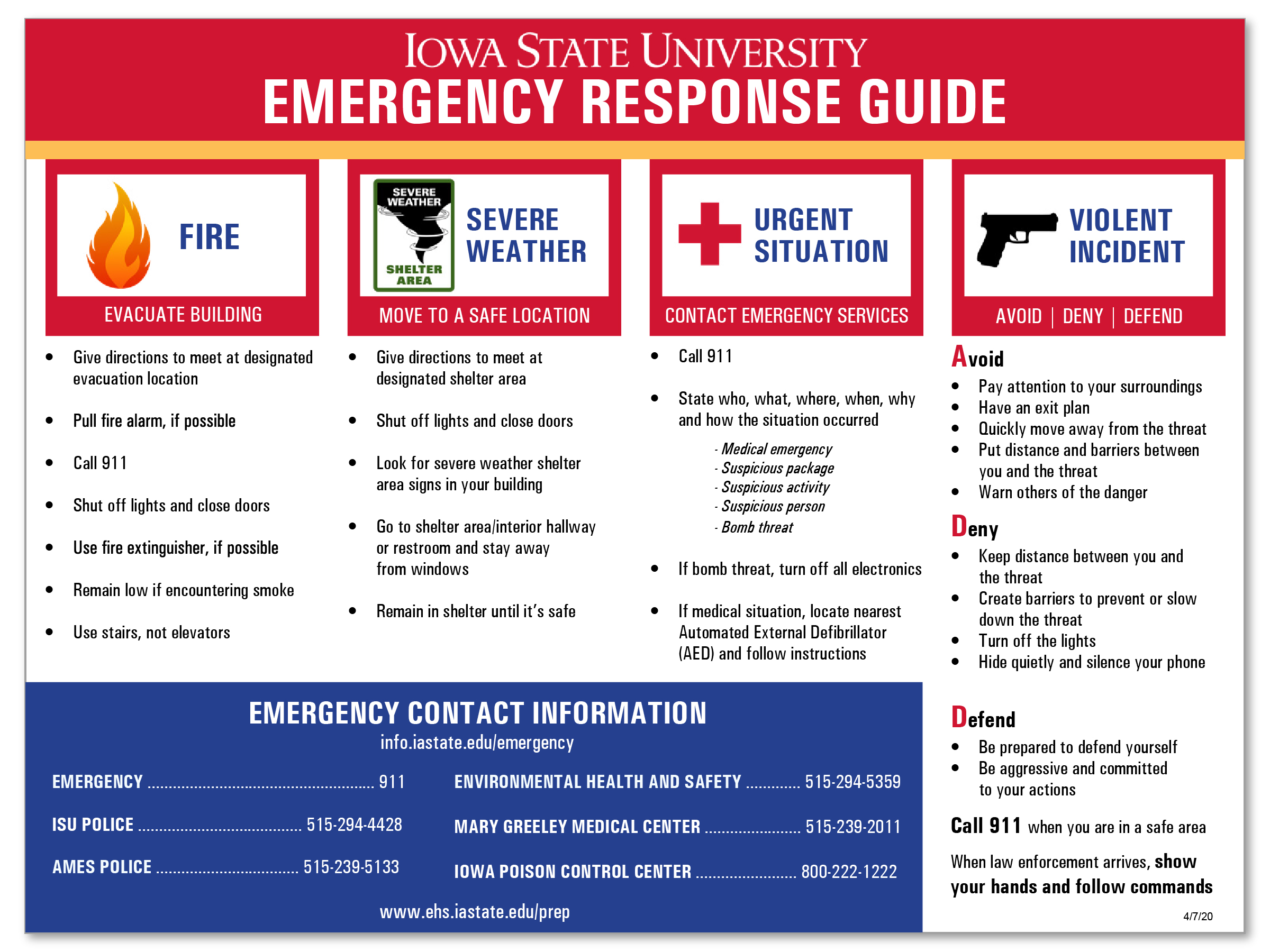 Department Unit Emergency Plan
