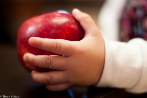 An apple in the kid hand