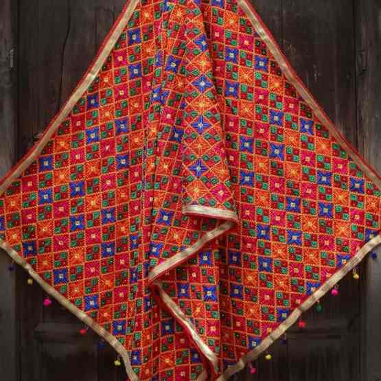 Blue Red Multi Color Phulkari