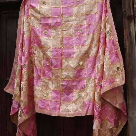Ultra Pink Light Peanut Color - Mirror Work Phulkari
