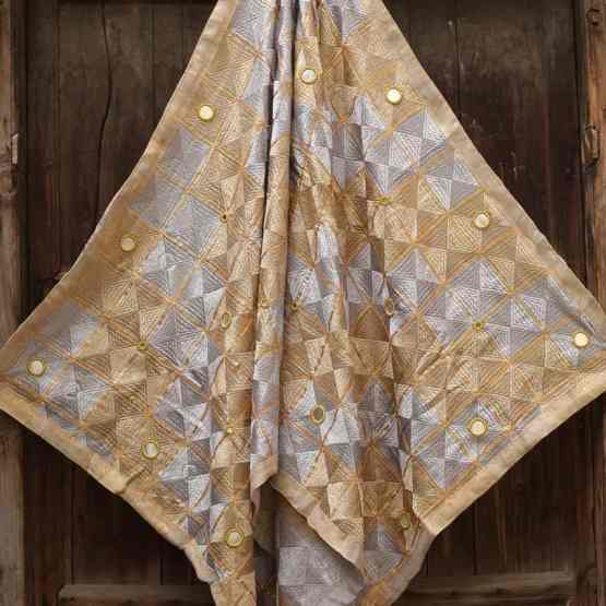 Steel Gray Light Peanut Color - Mirror Work Phulkari