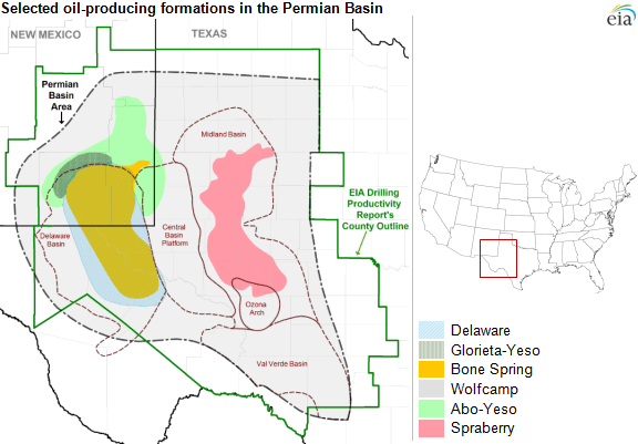 map of Permian Basin and plays, as explained in the article text