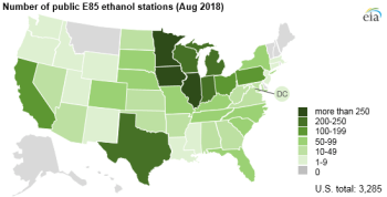 number of public e85 ethanol stations