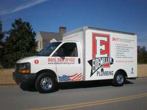 a side shot of an eidemiller plumbing truck