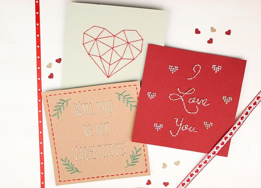 Valentinstags Karten besticken – kostenlose Vorlage | Eigenkreation