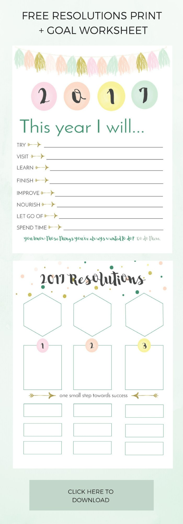 Start 2017 of with a bang using the Printable Resolutions List + Bonus Goal Worksheet. Full instructions for the goal worksheet on the blog >> Eight Pepperberries