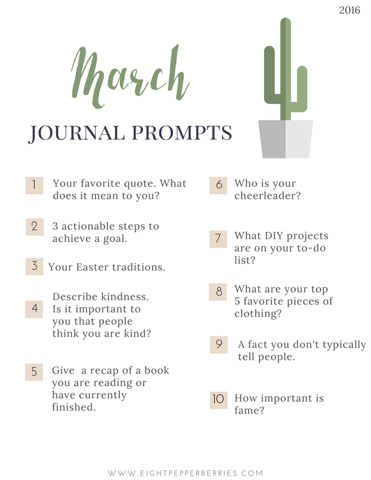 March Journal Prompts. New prompts [pdf printable included] each month >> Eight Pepperberries