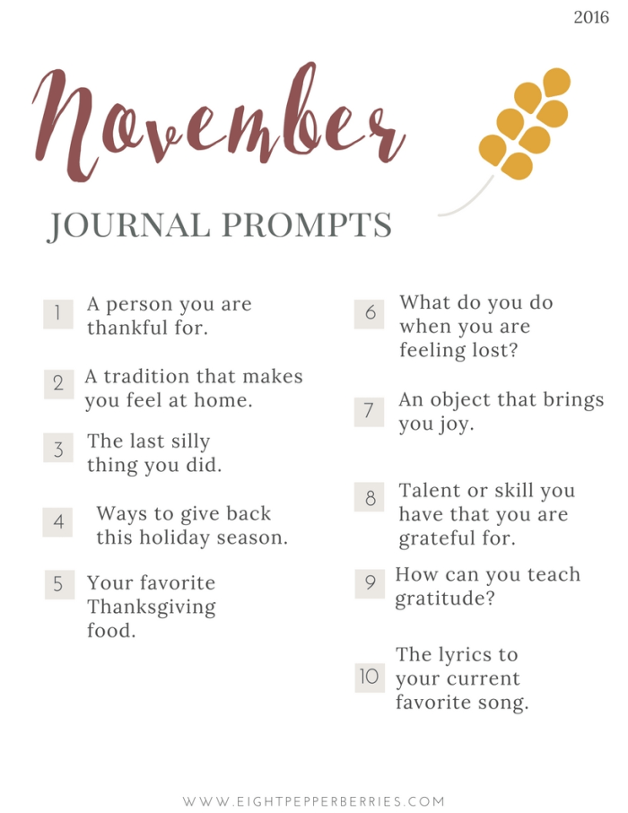 November 2016 Journal Prompts - Gratitude and Joy. New prompts released the beginning of each month >> Eight Pepperberries blog