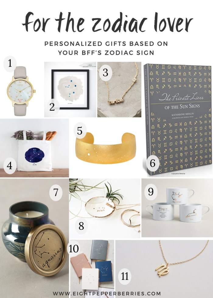 For The Zodiac Lover Gift Guide   Personalized Gifts Based On Your BFF's Zodiac Sign >> Eight Pepperberries