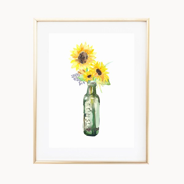 Rustic Sunflowers Art Print by Eight Pepperberries Paperie || Available in three 4x6, 5x7, 8x10 || Print at home option available