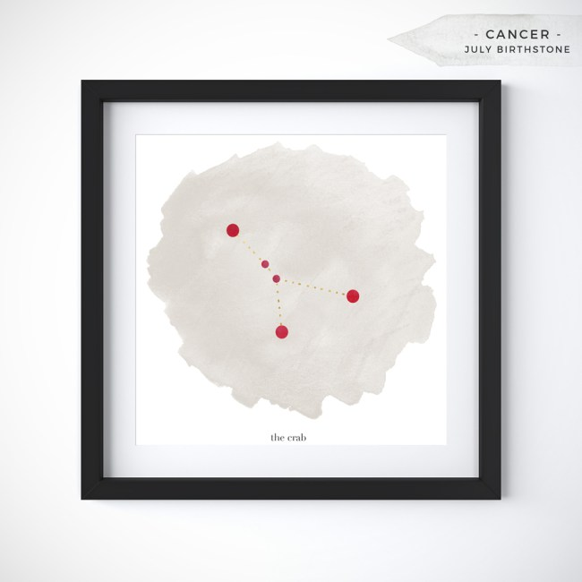 Cancer (June 21 - July 22) Constellation Art Print Personalized With Birthstone Color by Eight Pepperberries