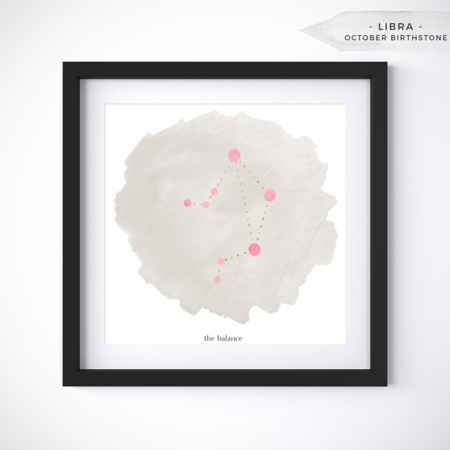 Libra (September 23 - October 22) Constellation Art Print Personalized With Birthstone Color by Eight Pepperberries
