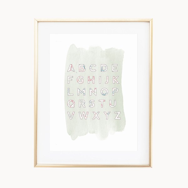 Sage Floral ABC Art Print by Eight Pepperberries Paperie || Available in three 4x6, 5x7, 8x10 || Print at home option available