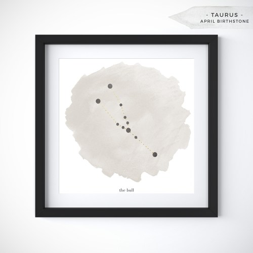 Taurus (April 20 - May 20) Constellation Art Print Personalized With Birthstone Color by Eight Pepperberries