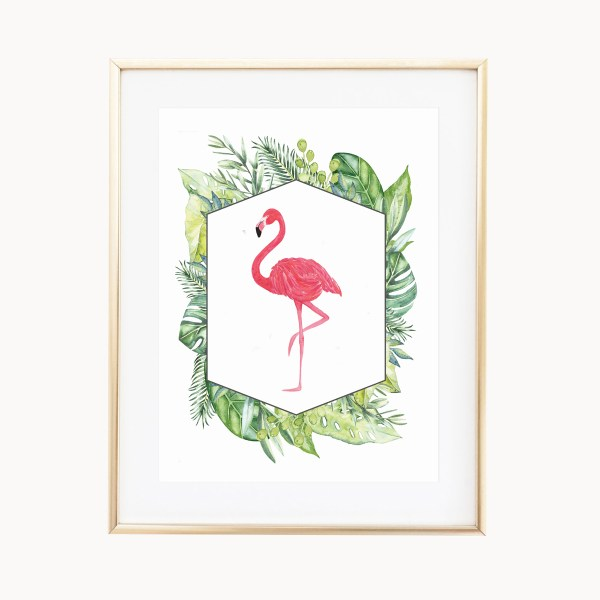 Tropical Flamingo Art Print by Eight Pepperberries Paperie    Available in three 4x6, 5x7, 8x10    Print at home option available