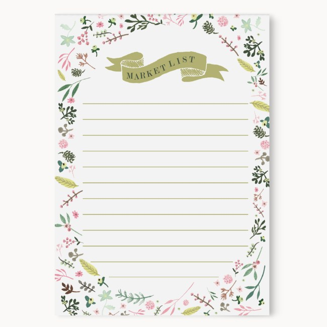 "Floral Market List Notepad || 50 Sheets || 4x5.5"" Size 