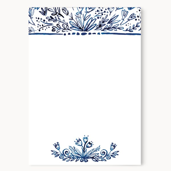 """Indigo Floral Notepad 