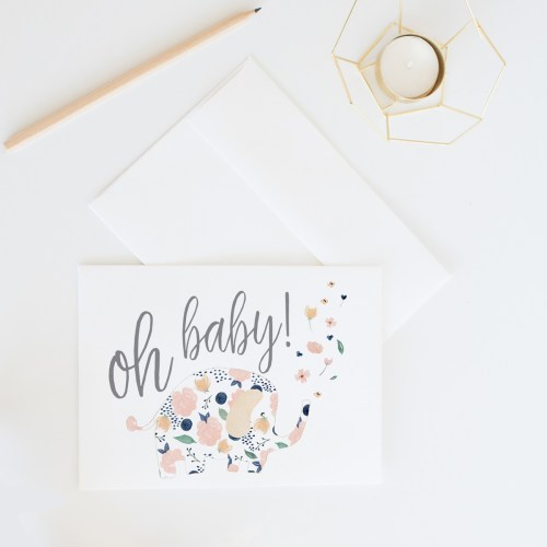 Oh Baby! Floral Elephant Card || Send some lovely snail mail with this sweet baby shower card by Eight Pepperberries