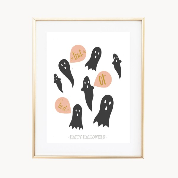 Trick or Treat Ghosts Art Print by Eight Pepperberries Paperie || Available in three sizes 4x6, 5x7, 8x10 || Print at home option available