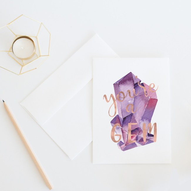You're A Gem Card || Send some lovely snail mail with this whimsical thank you card by Eight Pepperberries