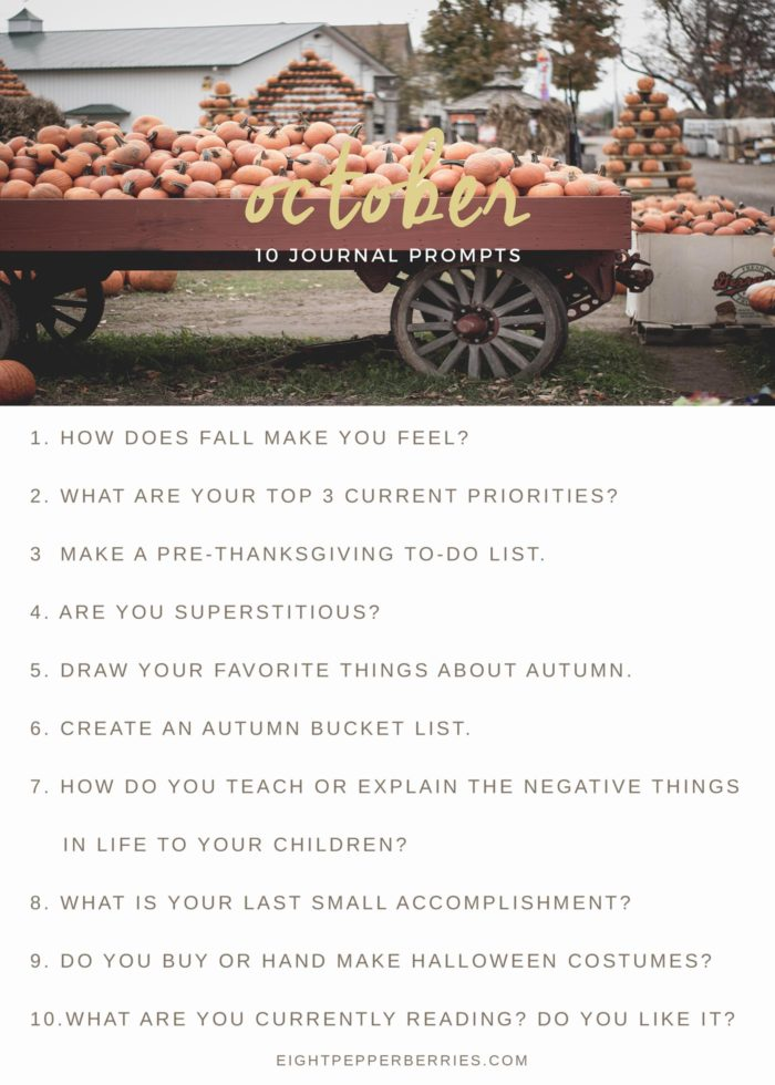 October 2017 Journal Prompts by Eight Pepperberries. New Prompts Released Each Month!