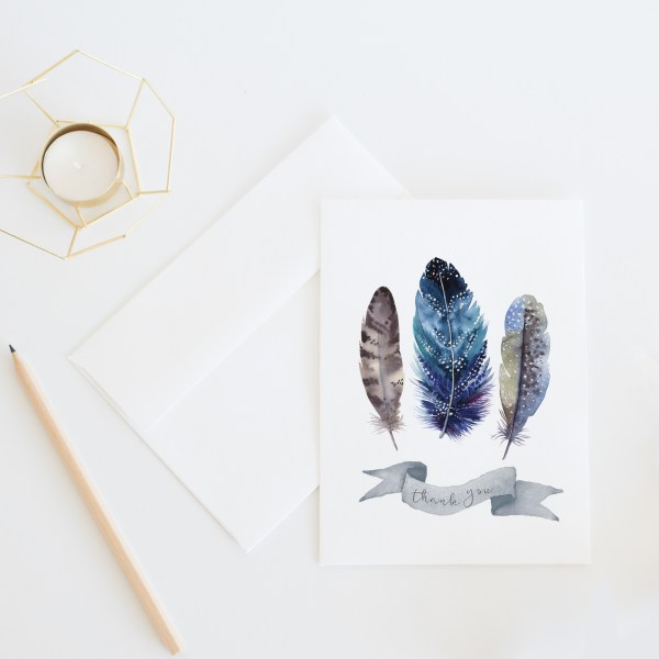 Feather Thank You Card || Send some whimsical snail mail with this nature inspired thank you card by Eight Pepperberries